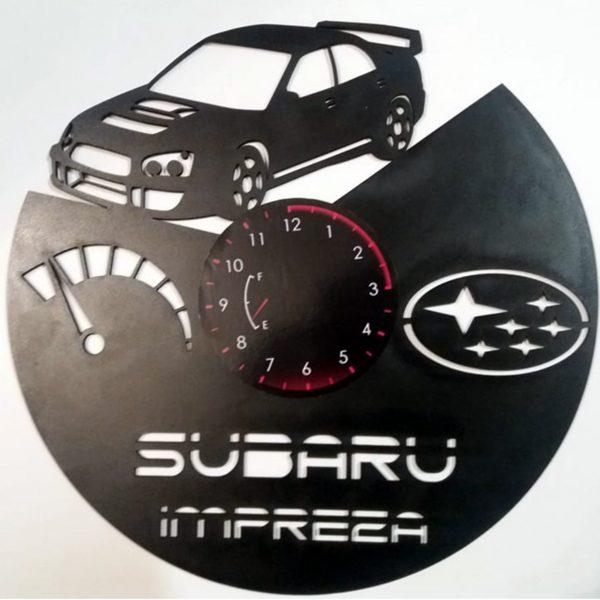 Ceas de perete din lemn negru Subaru Impreza taiat Clocks Design