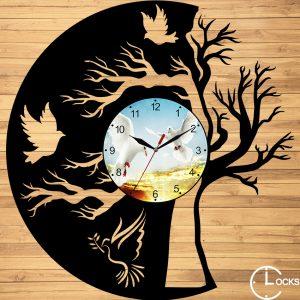 CEAS DE PERETE DIN LEMN NEGRU COPAC, CU PORUMBEI Clocks Design