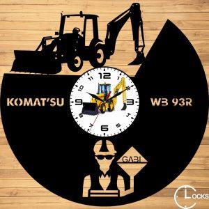 Ceas de perete din lemn negru Buldo excavator Clocks Design