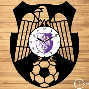 Ceas de perete din lemn negru FC Arges Clocks Design