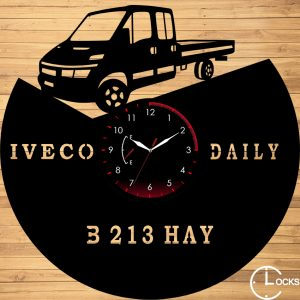 Ceas de perete din lemn negru Iveco Daily 200 Clocks Design