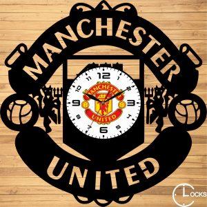 Ceas de perete din lemn negru Manchester United Clocks Desig