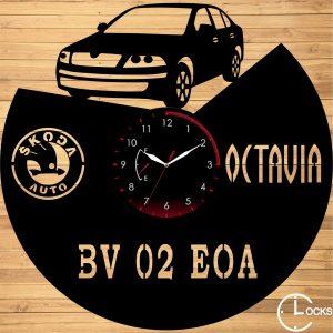 Ceas de perete din lemn negru SCODA OCTAVIA 2 - 2008 Clocks Design