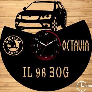 Ceas de perete din lemn negru SCODA OCTAVIA R2 Clocks Design