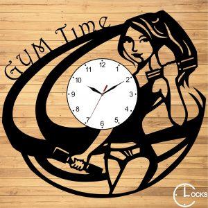 Ceas de perete din lemn negru Sala Fitnes Clocks Design