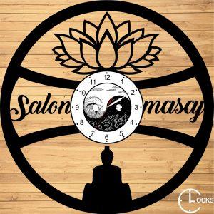 Ceas de perete din lemn negru Salon Masaj Clocks Design