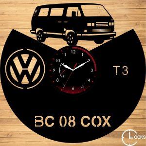 Ceas de perete din lemn negru Volkswagen T3 Clocks Design
