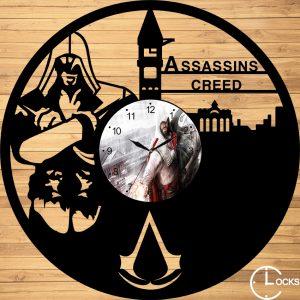 Ceas de perete din lemn negru Assassin's Creed Clocks Design