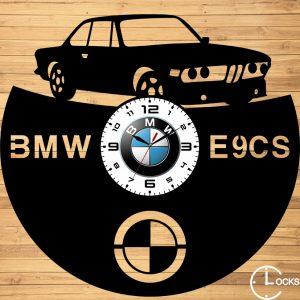 Ceas de perete din lemn negru BMW E9 Clocks Design