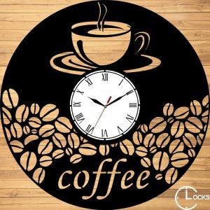 Ceas de perete din lemn negru Coffe Clocks Design