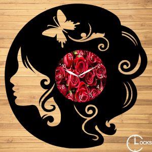 Ceas de perete din lemn negru Femeie cu fluturi Clocks Design