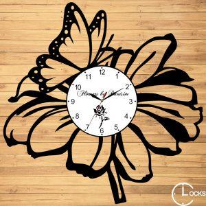 Ceas de perete din lemn negru Florarie Clocks Design