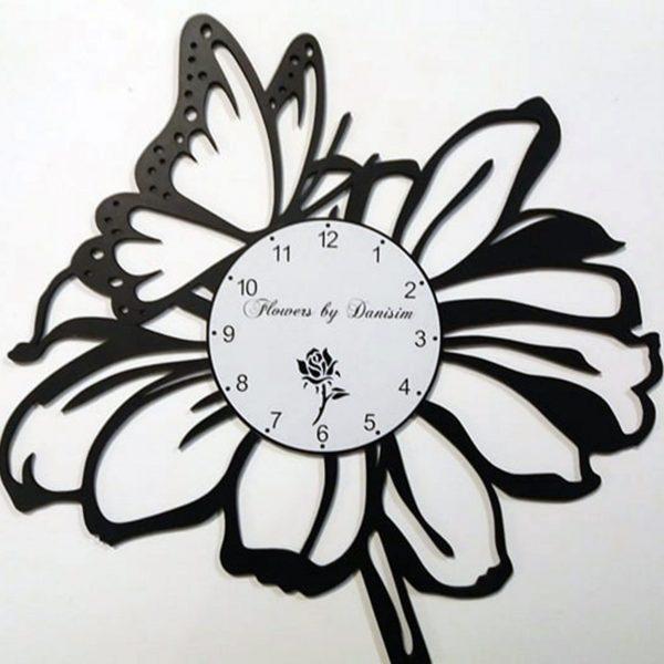 Ceas de perete din lemn negru Florarie taiat CLocks Design