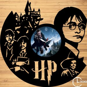 Ceas de perete din lemn negru Harry Potter cLOCKS dESIGN