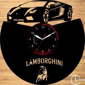 Ceas de perete din lemn negru Lamborghini Clocks Design