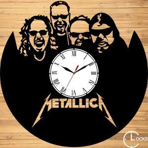 Ceas de perete din lemn negru Metalica Clocks Design