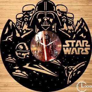 Ceas de perete din lemn negru Star Wars Clocks Design