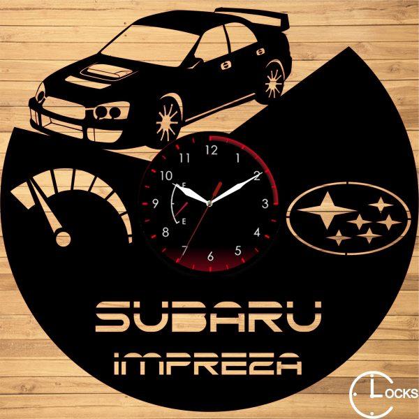 Ceas de perete din lemn negru Subaru Impreza Clocks Design
