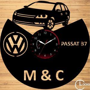 Ceas de perete din lemn negru Volkswagen B7 Clocks Design