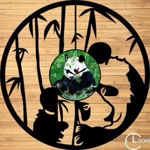 Ceas de perete din lemn negru Urs Panda CLocks Design