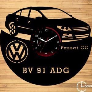 Ceas de perete din lemn negru Volkswagen PASSAT CC 2011 CLocksDesign