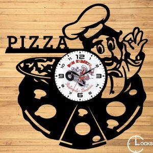 Ceas de perete din lemn negru Pizza Clocks Design