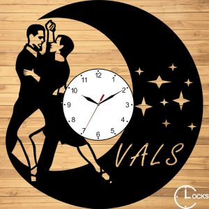 Ceas de perete din lemn negru dansatori Vals ClocksDesign