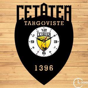 Ceas de perete din lemn negru Cetatea Targoviste Clocks Design