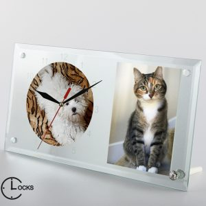 Ceas din sticla cu pisica si catel clocksdesign