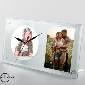 Ceas dreptunghiular cu 2 poze de familie clocksdesign