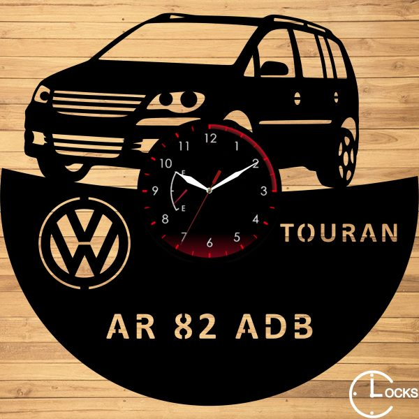 Ceas de perete din lemn negru Volkswagen Touran