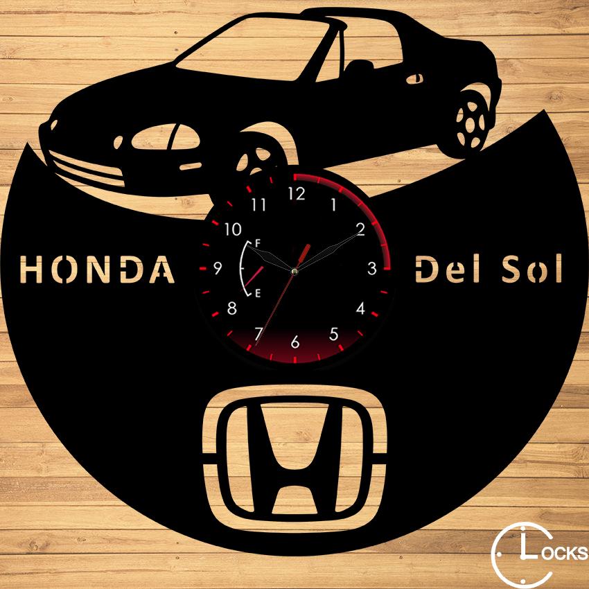 Ceas de perete din lemn negru HONDA DEL SOL | Clocks Design