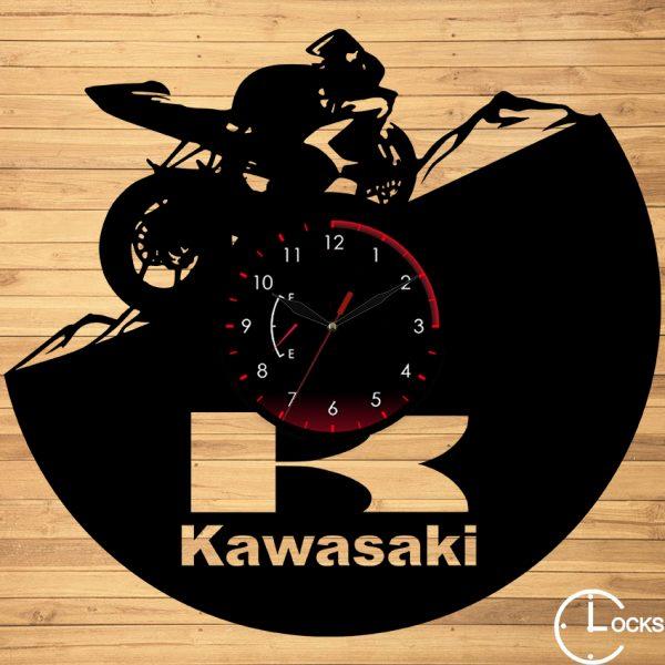 Ceas de perete din lemn negru motocicleta kavasaki m3 - clocksdesign.ro