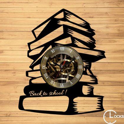 Ceas de perete din lemn Back too school m1