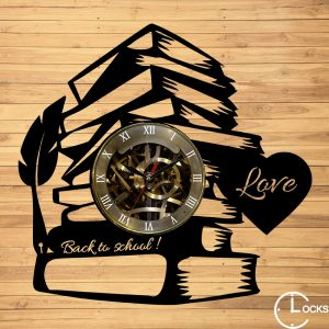 Ceas de perete din lemn negru Back Too Scgool m2 | clocksdesign.ro