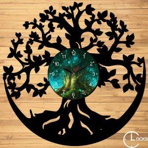 Ceas de perete din lemn negru Copacul vietii - ClocksDesign.ro